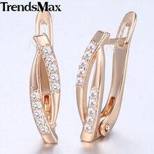 Trendsmax, женские серьги-гвоздики, удлиненные овальные CZ 585, розовое золото, серьги для женщин, модные женские ювелирные изделия, подарок, Прямая поставка, KGE179