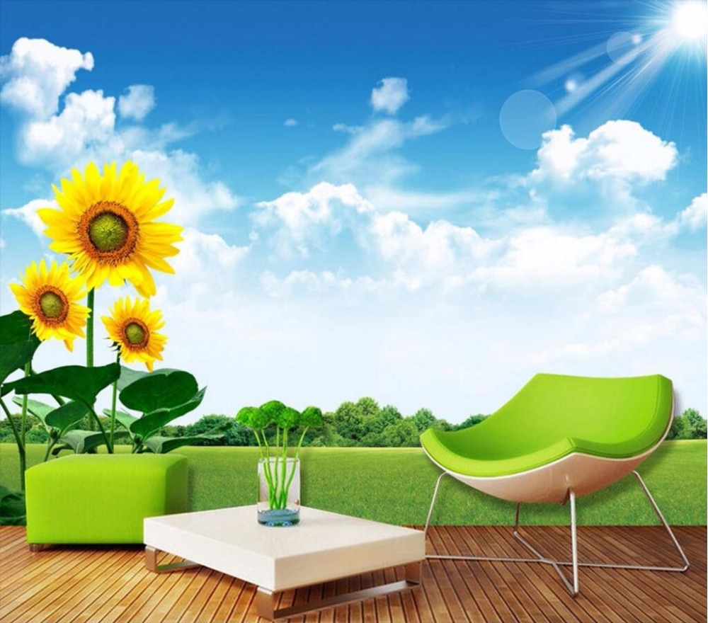 popular sunflower wall murals buy cheap sunflower wall murals lots custom mural 3d room wallpaper sunflower grass blue sky white cloud decoration painting 3d wall murals