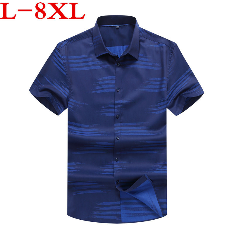 New 2018 Arrive Mens Cargo Shirt Men Casual Shirt Solid Short Sleeve Shirts Work Shirt with plus Size 8XL 7XL 6XL 100% Cotton