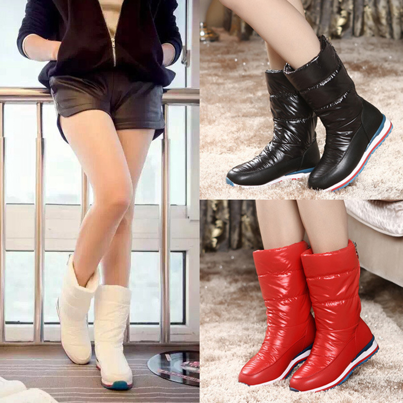 Fashion 2018 Snow Boots Woman Winter Mid-calf Down Waterproof Snowboots Women Shoes Warm Women Boots Black /White /Red Plus Size футболка skills red line snow white xl