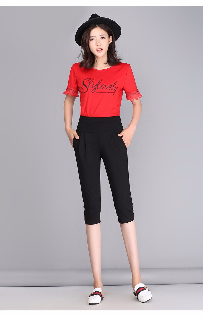 Plus Size S-4XL Harem Pants Women Solid Elastic Calf Length Summer Pants Casual High Waist Sport Pants Capris Trousers 2016 A313 d