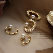 HUANZHI Korean Chic Style S925 Sterling Silver Pin Gold Metal Curved Wave Line Pearl Circle Earrings for Women Girl Party Gift(China)