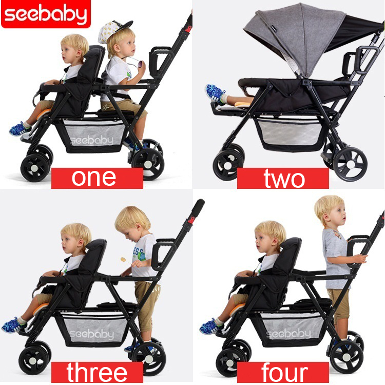 Seebaby Fold Twins Baby Stroller Double Pram Two Seat Can Stand Sit Fit Newborns Baby and