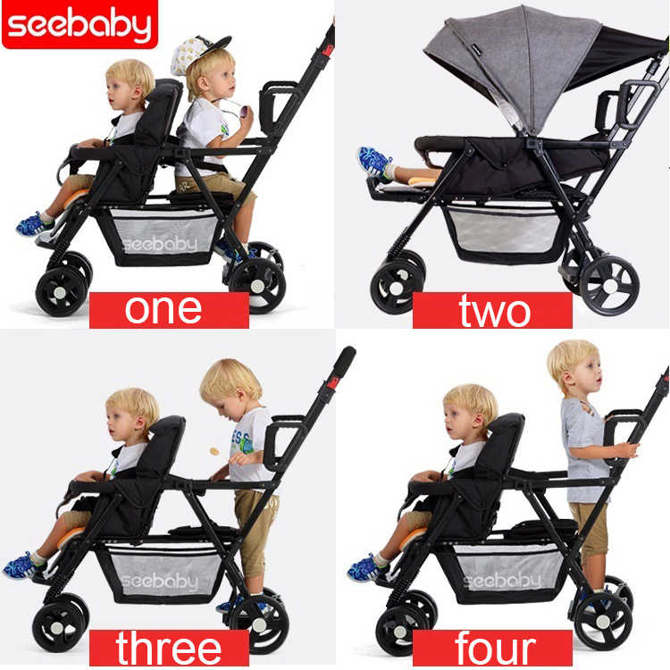 Incredible Seebaby Fold Twins Baby Stroller Double Pram Two Seat Can Machost Co Dining Chair Design Ideas Machostcouk