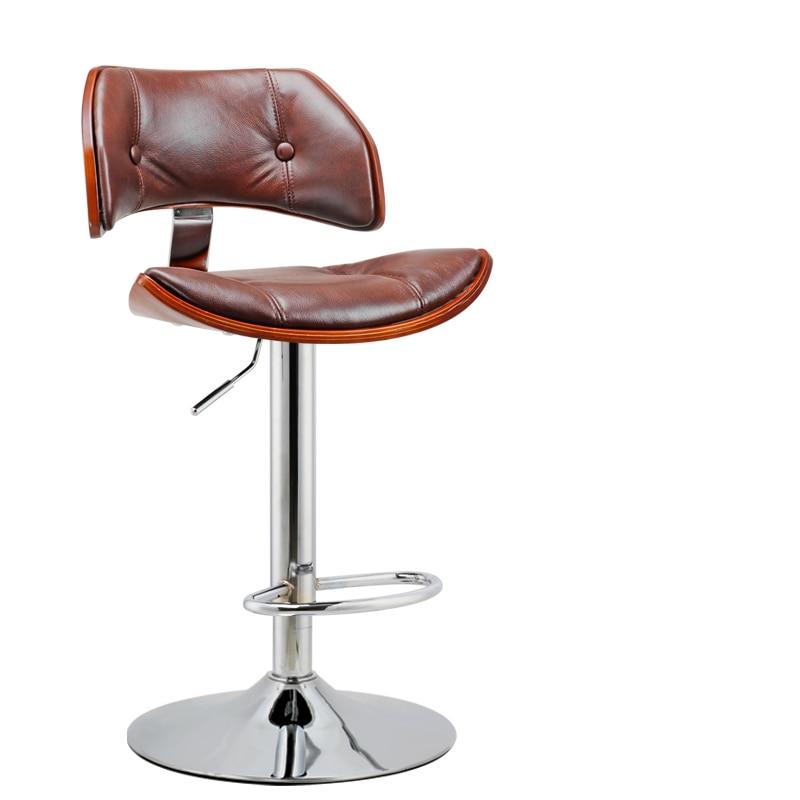 Retro Design Lifting Swivel Bar Chair Rotating Adjustable Height Pub Bar Stool Chair Footrest PU Material Reception Cadeira