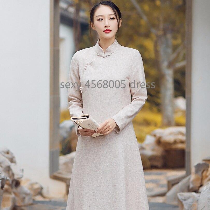 Cinese Fibbia Inverno A Da Dress Maniche Servizio Beige Stile Meditazione Vestito Nuovo Retro Lunghe Sottile Tè Lana Abiti Piatto Di Autunno wdxtSz