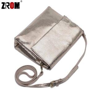 Image 4 - ZROM marque de luxe en cuir véritable brillant Serpentine or argent Crossbody réel doux en cuir de vache sacs à main dame Messenger sacs