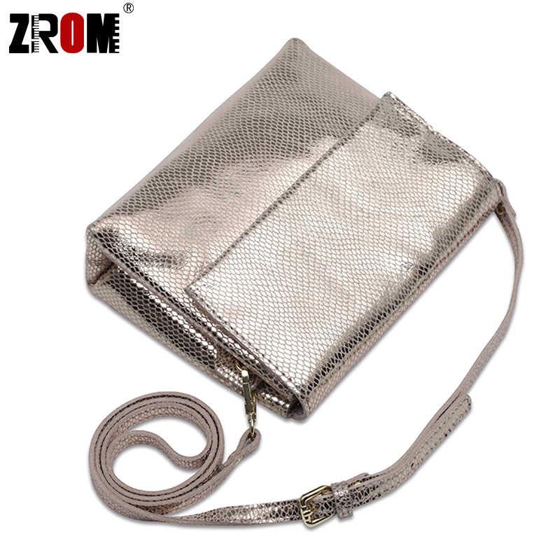 ZROM брендовые роскошные сумки из натуральной кожи с блестящей змеиной, золотистого и серебряного цветов, через плечо, из мягкой коровьей кожи, женские сумки-мессенджеры