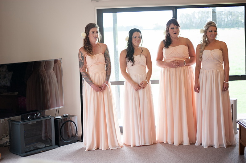 Elegant Peach Pleats Strapless A Line bridesmaid dresses Floor ...