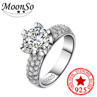 Real 925 Sterling Silver Ring Finger Anel Aneis CZ Diamond For Women Jewelry Pure Wedding Engagement