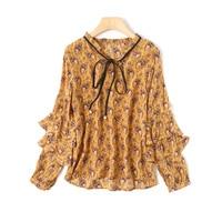 New Spring Summer Women Silk Shirts V Neck Flare Sleeve Women Blouse