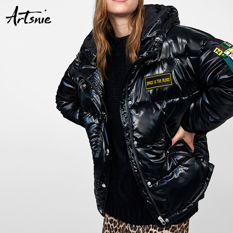 Artsnie Streetwear Letter Tassel Thick   Parkas   Women Autumn 2018 Casual Hoodies Long Sleeve Jacket Patch Girls Winter Coat Female