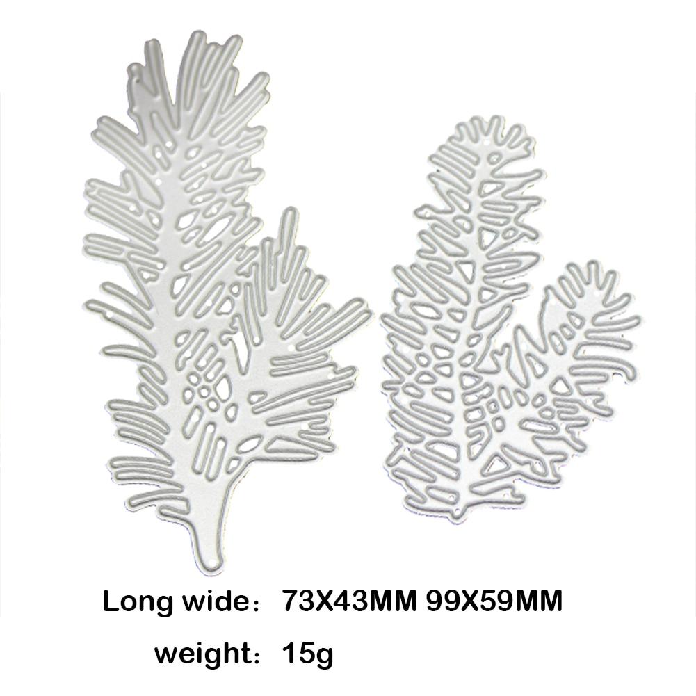 2pcs Pine Branch DIY Metal Cutting Dies Stencil Scrapbook Paper Card ...