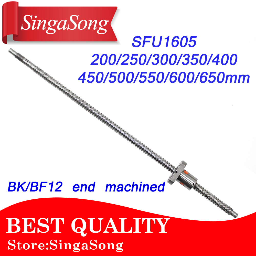 SFU1605 200 250 300 350 400 450 500 550 600 650 mm ball screw with flange single ball nut BK/BF12 end machined CNC parts