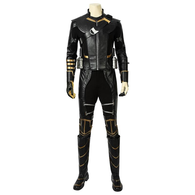 Avengers 4 Endgame Costume Clinton Barton Hawkeye Ronin Cosplay Leather Jacket Boots Halloween Carnival Men Outfit Custom Made