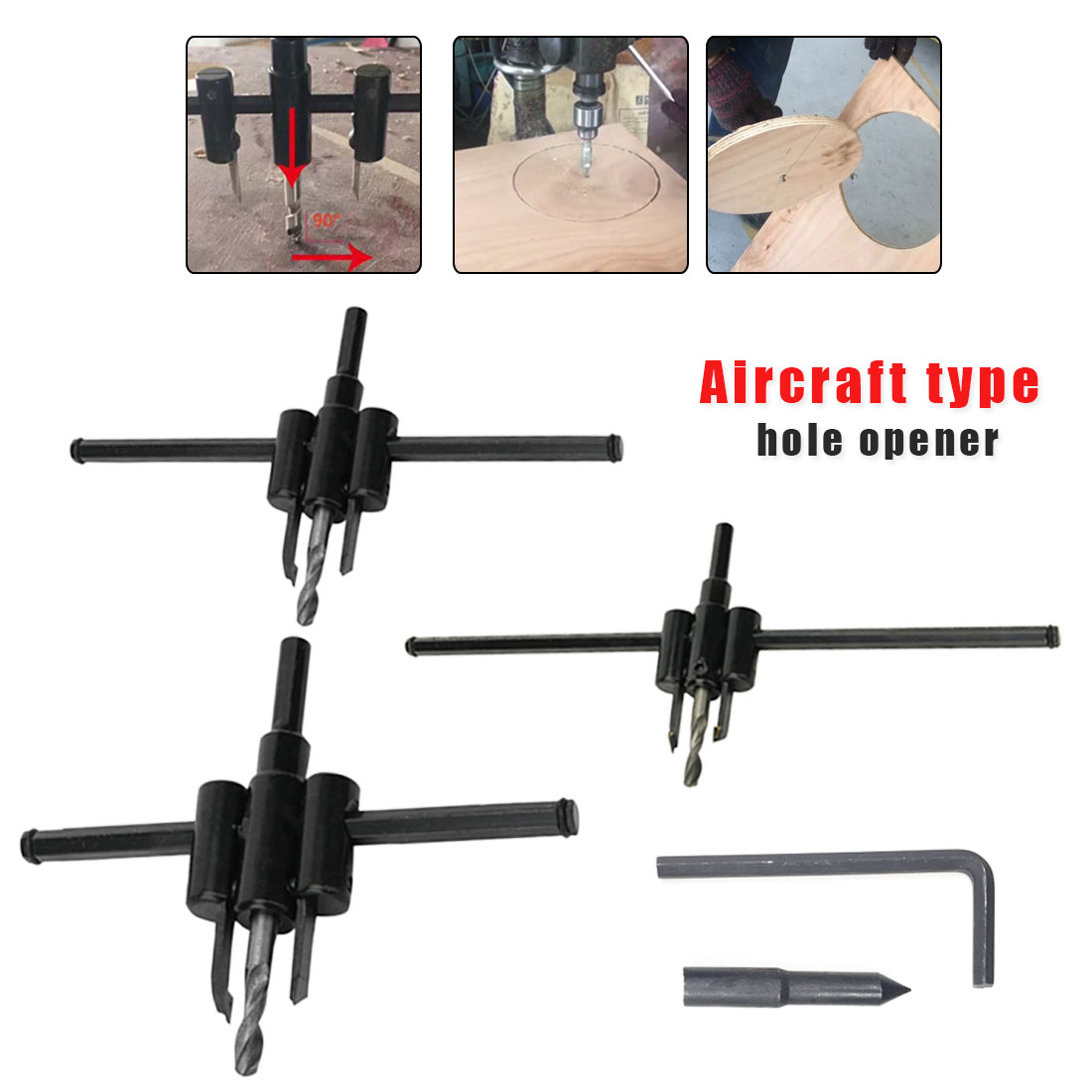 120mm/200mm/300mm Adjust Wood Circle Hole Saw Cutter Tool Kit Set Cordless Drill Bit For Woodworking DIY Adjustable