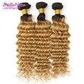 Venda quente loira série raízes escuras loira brasileira onda profunda virgem cabelo 3 Pcs Ombre 1B / 27 mel loira extensão do cabelo humano