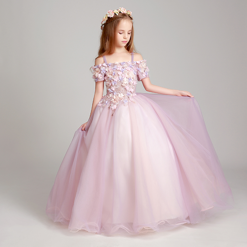 Shoulderless Kids Girls Gown Dress Flower Children Formal Costume For Wedding Party Dresses Floral Pink Girl Dress Luxury D34 girl s formal dress 2018 flower girls wedding dresses cute kids gauze lace party ball gown children s long prom dress pink 3 13y