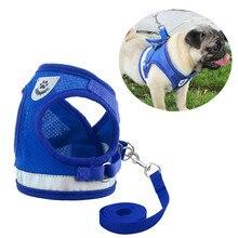 Pet Dog Harness Adjustable Reflective Vest Walking Lead Leash for Dogs Nylon Mesh Cat Harnesses Pets Accessories