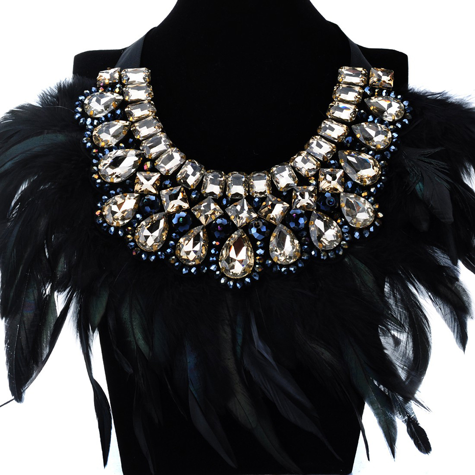 JEROLLIN Luxury Fashion Jewelry Big Hot sale Feather Shiny Crystal Pendant Statement Bib Collar Choker Charm Necklace For Women