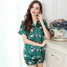 Женская пижама с ананасовым принтом, летняя пижама из 100% шелка с коротким рукавом, шорты, комплект из натурального шелка, Пижама для женщин