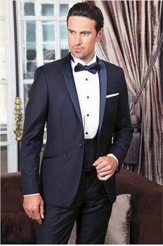 Navy One Button 3 Pieces Mens Suits Peak Lapel Wedding Suits for Men Groom Tuxedos Business Formal Suit (Jacket+Pants+vest+tie)