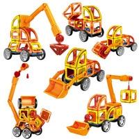60pcs Magnetic Building Blocks Toys Set Excavator Construction Vehicle Tiles Magnet Block Kit for Kids Stacking Shapes PGM189