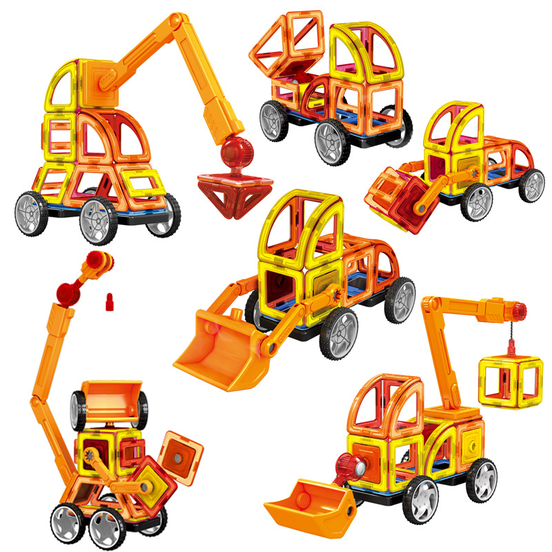 60pcs Magnetic Building Blocks Toys Set Excavator Construction Vehicle Tiles Magnet Block Kit for Kids Stacking Shapes PGM189
