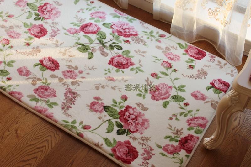 Romantic Floral Room Floor Mats Sweet Rose Print Carpets