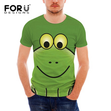 FORUDESIGNS Animal Frog Printed Men T Shirt Tops Teen Boys Cute Pattern Summer T-shirt for Females Unique Design Tee Cloth