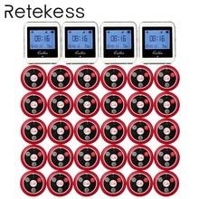 RETEKESS Беспроводная кнопка вызова официанта системы для ресторана служебный пейджер гость пейджер 4 часы приемник + 30 Кнопка вызова F3288B