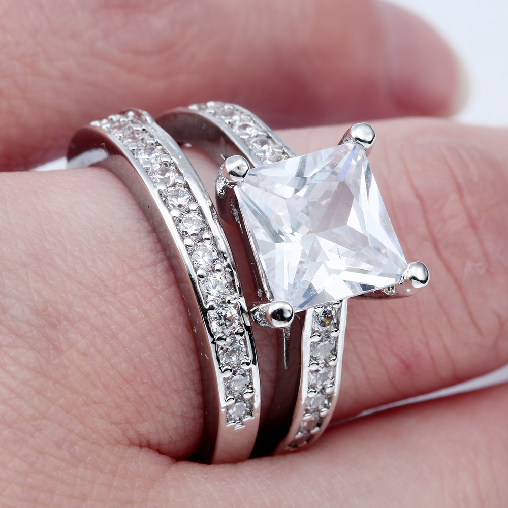 Vintage Silver Plated Promise Rings Sets New Fashion Large Square Zircon Jewelry Gift Princess Engagement Ring For Women In From