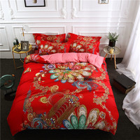 3/4Pcs Bohemia Bedding Set Soft King Queen twin Duvet Cover sets with pillowcases red Quilt Cover Mandala luxury Home Textile