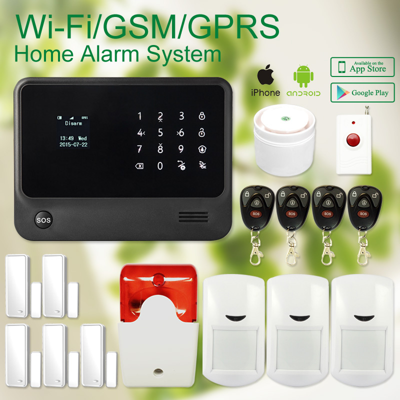 G90B plus Wifi GPRS GSM Alarm system smartphone APP remote control home burglar alarm security system with wireless siren g90b plus home security gsm alarm system with gprs wireless home alarm system support andriod ios app collocation alarm sensor