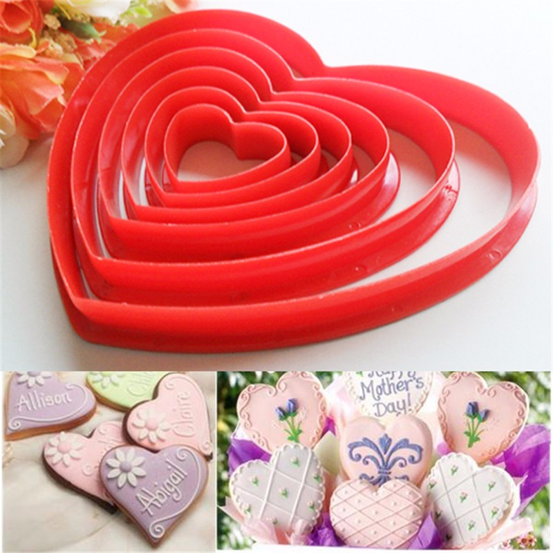4pcs Heart Shaped Plastic Cake Mold Cookie Cutter Biscuit Stamp Kitchen Tools i
