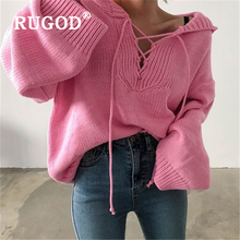 RUGOD Ins Loose solid knitted women sweater Korean V neck lace up pullover sweraters with hooded female invierno 2019