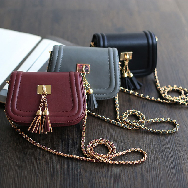 Luxury Women Leather Handbags Chain Clutch Messenger Bags Brand Designer Vintage Cross Body Bags Korean Fringe Crossbody