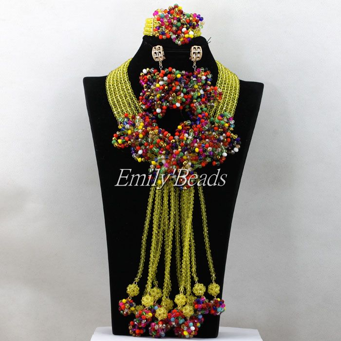 Multicolored Wedding Beads Necklace Jewelry Set Chunky Costume African Nigerian Crystal Beads Bridal Jewelry Set AIJ993 hot nigerian wedding beads jewelry set womens red ball crystal beads necklace african wedding beads bridal jewelry set 2018