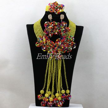 Multicolored Wedding Beads Necklace Jewelry Set Chunky Costume African Nigerian Crystal Beads Bridal Jewelry Set AIJ993
