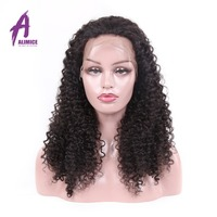 Alimice Brazilian Kinky Curly Full Lace Wigs With Baby Hair Remy Pre Plucked Full Lace Human Hair Wig Natural Hairline 8 26 inch