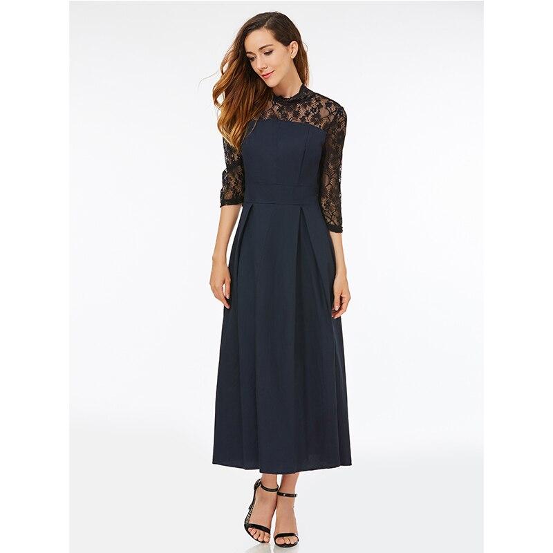 Kinikiss Women Lace Dress Vintage Plus Size Hollow Floral