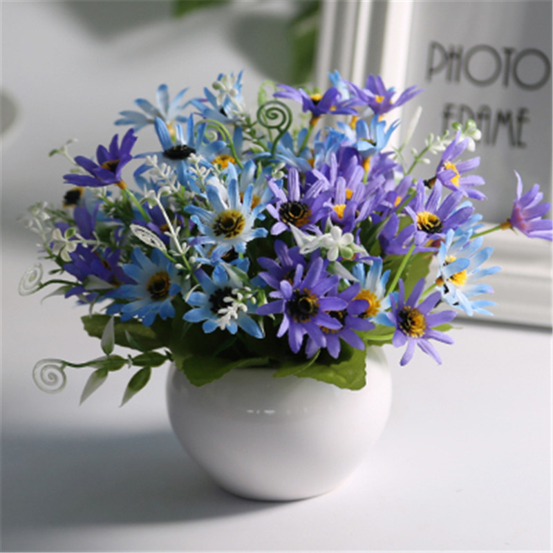 Ceramic Pot Artificial Purple Blue Daisy Green Plant European Style Fake Artificial Party Flowers Home Hotel Wedding Decor|Artificial & Dried Flowers| |  - title=