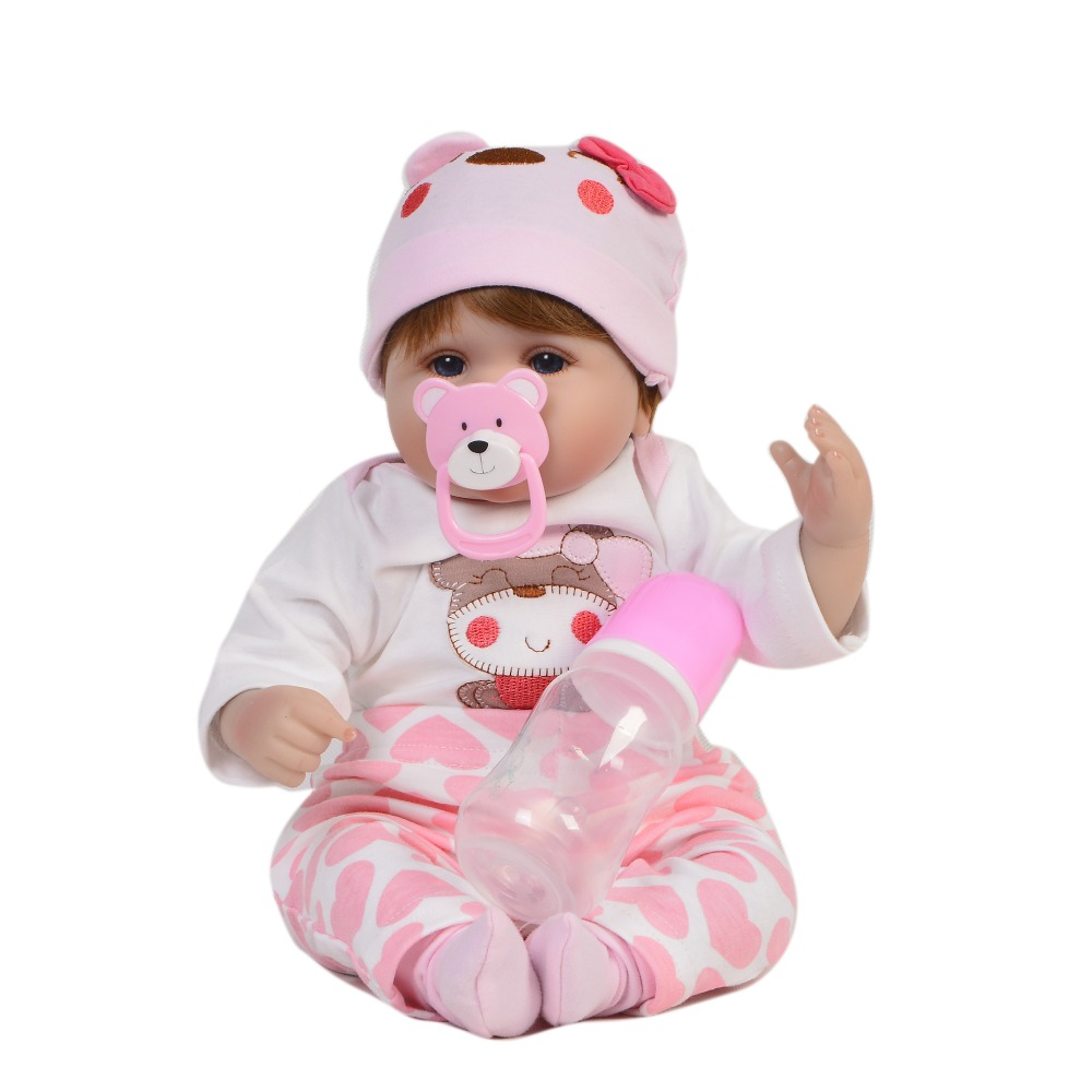 KEIUMI Lovable 17'' Reborn Dolls Babies Soft Silicone Body Fashion 43 cm Baby Girl Toy Stuffed PP Cotton Baby Reborn Playmates-in Dolls from Toys & Hobbies    3