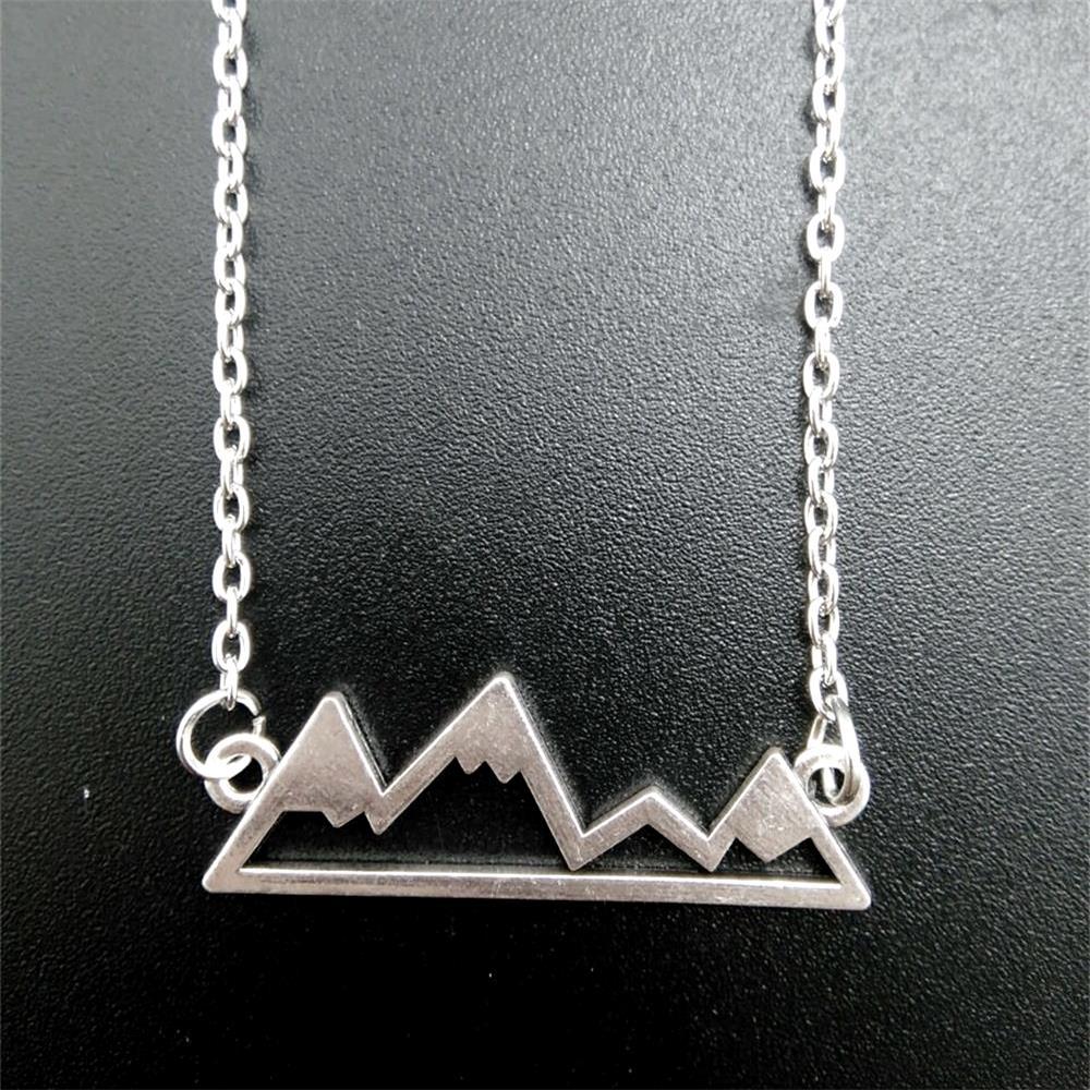 Zircon Simple Mountain Peak Inspirational Necklace Rock Climbing Hiking Chains