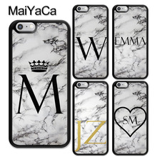 MaiYaCa PERSONALISED GRAY MARBLE NAME INITIALS TPU Skin Phone Case For iPhone 6 6S 7 8 Plus X XR XS MAX 5 5S SE Cover Coque все цены