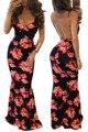 2016 sexy summer dress correa de espagueti sin mangas de hendidura diseño impreso floral con cuello en v sin respaldo partido de las mujeres elegantes vestidos maxis