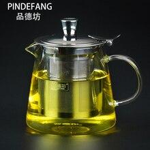 PINDEFANG 600~ 1500 мл Классический термостойкий-30~ 150 oC чайник из боросиликатного стекла с улучшенной нержавеющей сталью для заварки