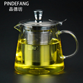 PINDEFANG 600~1500ml Hand-blown Heat Resistance -30~150 oC Borosilicate Glass Teapot with Upgraded Stainless Steel Infuser