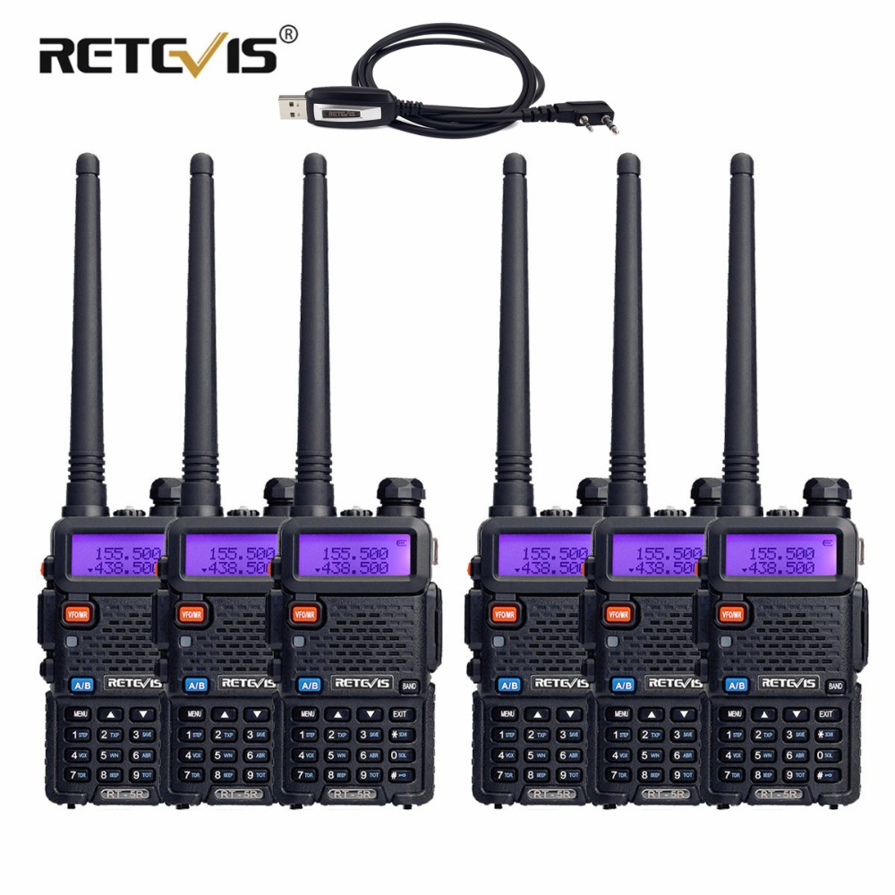6pcs Retevis RT5R Two Way Radio Walkie Talkie 5W Dual Band VHF UHF VOX Walkie Talkie Ham Radio Amador Handheld Transceiver+Cable-in Walkie Talkie from Cellphones & Telecommunications    1