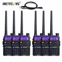 6pcs Retevis RT5R Two Way Radio Walkie Talkie 5W Dual Band VHF UHF VOX Walkie Talkie Ham Radio Amador Handheld Transceiver+Cable